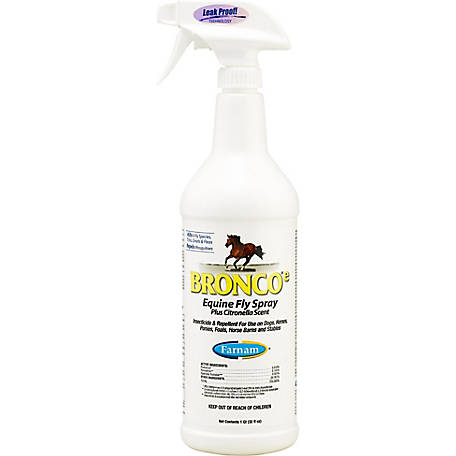 Farnam Bronco E Equine Fly Spray Plus Citronella Scent, 1 qt.