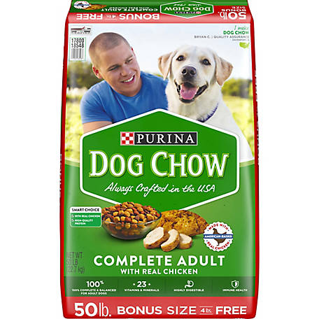 Purina Dog Chow Dry Dog Food; Complete Adult with Real Chicken, 50 lb. Bag