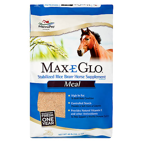 Manna Pro Max-E-Glo Stabilized Rice Bran Meal Performance Horse Supplement, 40 lb., 1000094