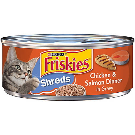 Purina Friskies Gravy Wet Cat Food, Shreds Chicken & Salmon Dinner in Gravy, 5.5 oz. Can