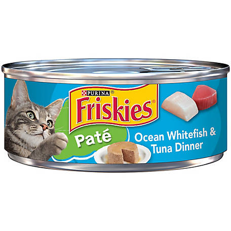 Purina Friskies Pate Wet Cat Food, Ocean Whitefish & Tuna Dinner, 5.5 oz. Can