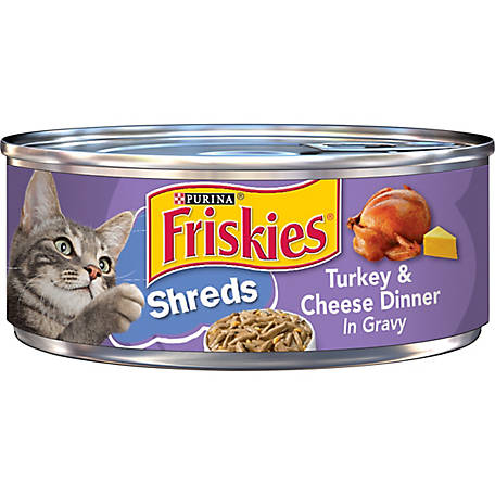Friskies Savory Shreds Turkey & Cheese Wet Cat Food, 5.5 oz. Can