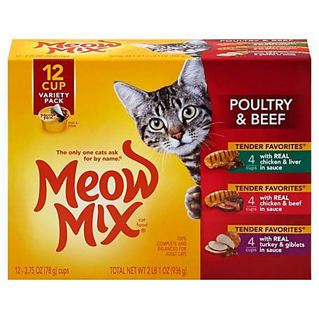 Meow Mix Tender Favorites Poultry & Beef Wet Cat Food Variety Pack, 2.75 oz. Cups, (12 Cups)