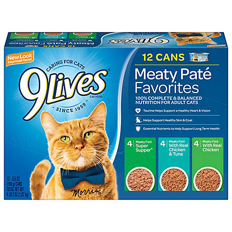 9Lives Pate Favorites Variety Pack Wet Cat Food, 5. oz., 12 ct. Cans