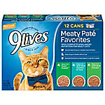 9Lives Pate Favorites Wet Cat Food Variety Pack, 5-1/2 oz. Can, Pack of 12