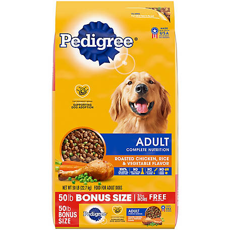 Pedigree Adult Complete Nutrition Roasted Chicken, Rice & Vegetable Flavor Dry Dog Food 50 lb. Bag