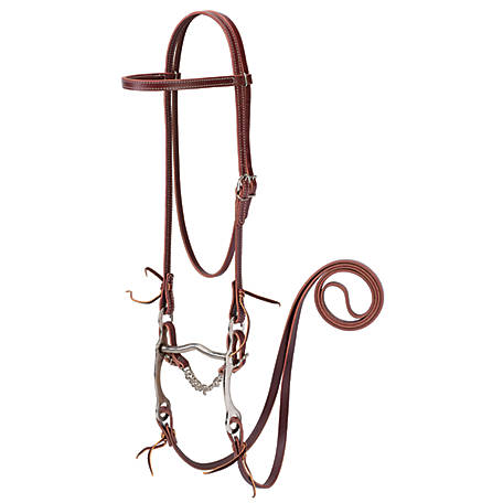 Weaver Leather Latigo Leather Browband Bridle with Single Cheek Buckle