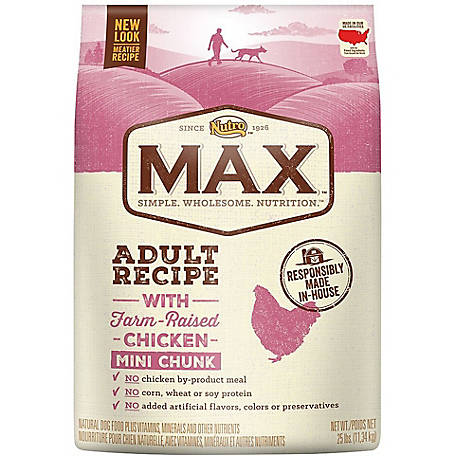 Nutro Max Natural Adult Dry Dog Food, Chicken Mini Chunks, 25 lb.