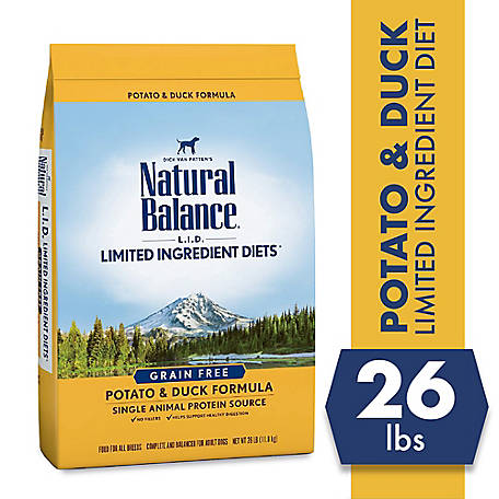 Natural Balance Limited Ingredient Diets Potato & Duck Formula Dry Dog Food, 26 lb., Grain-Free