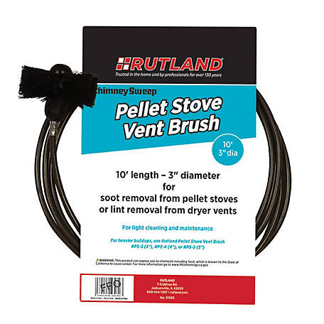 Rutland 3 in. Pellet Stove/Dryer Vent Brush with 10 in. Handle
