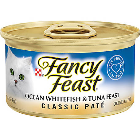 Purina Fancy Feast Grain-Free Pate Wet Cat Food Ocean Whitefish & Tuna Feast, 3 oz. Can