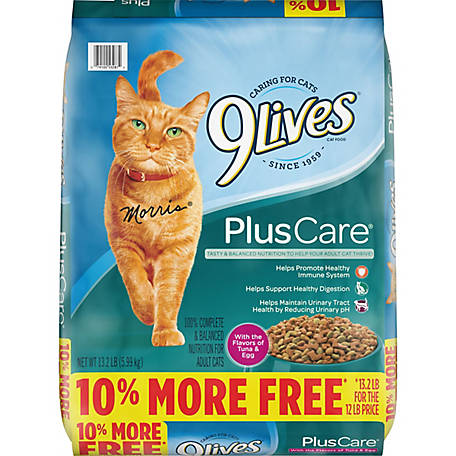 9Lives Plus Care Dry Cat Food Bonus Bag, 3.2 lb.