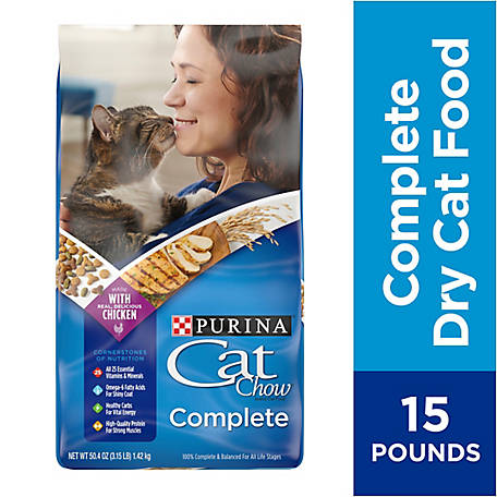 Purina Cat Chow Dry Cat Food, Complete, 15 lb. Bag