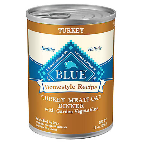 Blue Buffalo Homestyle Recipe Turkey Meatloaf Dinner with Carrots Wet Dog Food, 12.5 oz.
