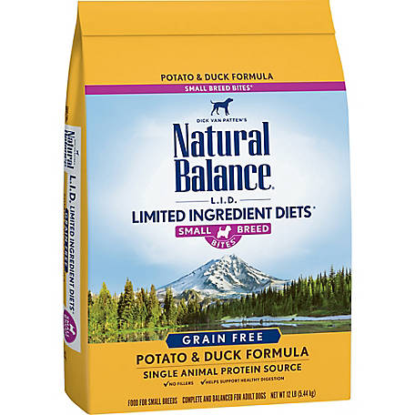 Natural Balance Small Breed Bites L.I.D. Limited Ingredient Diets Potato & Duck Formula Dry Dog Food, 12 lb.