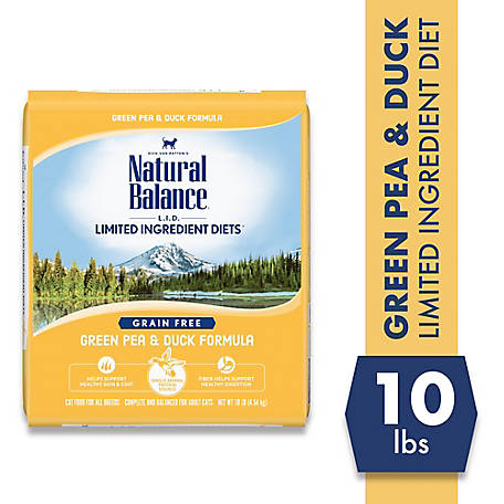 Natural Balance Limited Ingredient Diets Green Pea & Duck Formula Dry Cat Food, 10 lb., Grain- Free