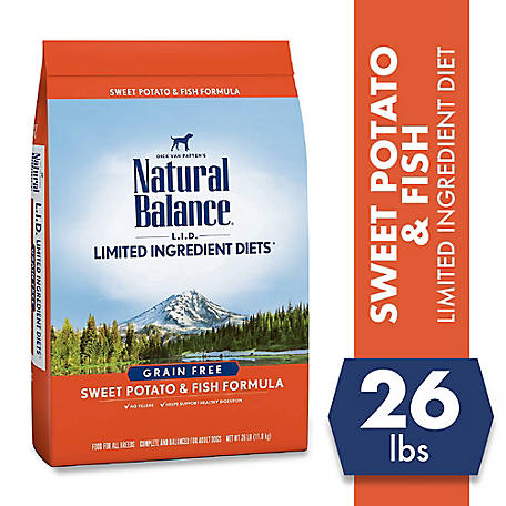 Natural Balance Limited Ingredient Diets Sweet Potato & Fish Formula Dry Dog Food, 26 lb., Grain-Free