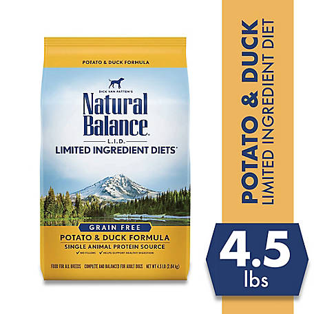 Natural Balance Limited Ingredient Diets Potato & Duck Formula Dry Dog Food, 4.5 lb., Grain-Free