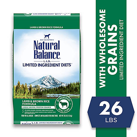 Natural Balance L.I.D. Limited Ingredient Diets Dry Dog Food, 26 Pounds, Lamb & Brown Rice Formula, 26 lb.