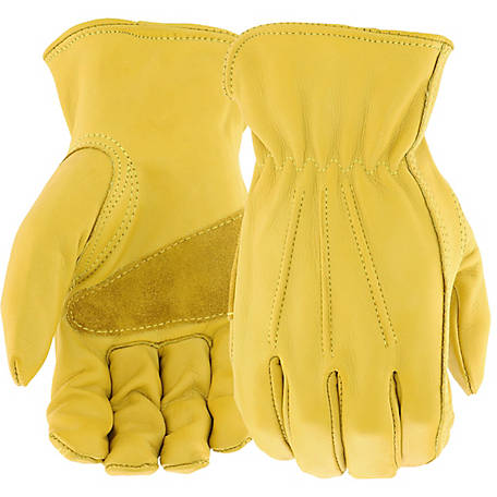 West Chester Men's Grain Cowhide Leather Driver Palm Patch Gloves