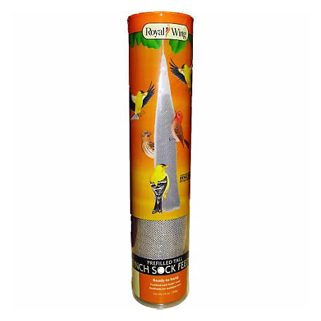Royal Wing Finch Sock Feeder Prefilled with Nyjer Seed, 13 oz.