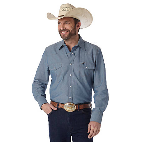 Wrangler Men's Long Sleeve Chambray Work Shirt