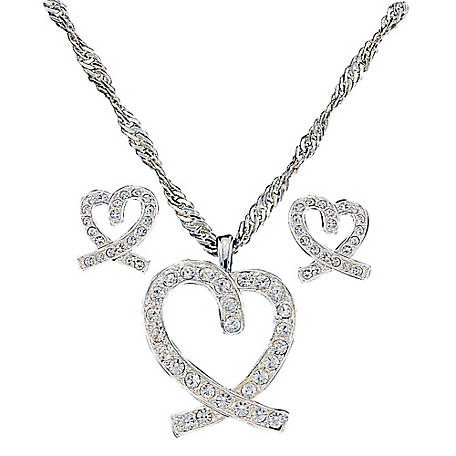 Montana Silversmiths A Caring Heart in Clear Rhinestones Jewelry Set