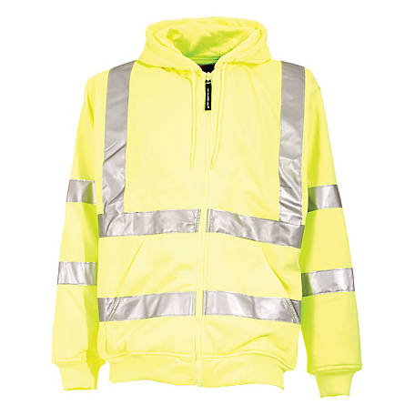 C.E. Schmidt Men's Class 3 Hi-Vis Thermal-Lined Zip-Front Hooded Sweatshirt with Reflective Tape