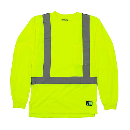 Berne Men's Class 2 Certified Hi-Visibility Long Sleeve Pocket T-Shirt