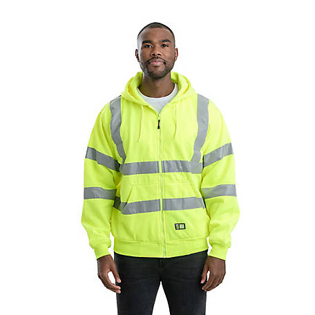 Berne Class 3 Hi-Vis Thermal-Lined Zip-Front Hooded Sweatshirt with Reflective Tape