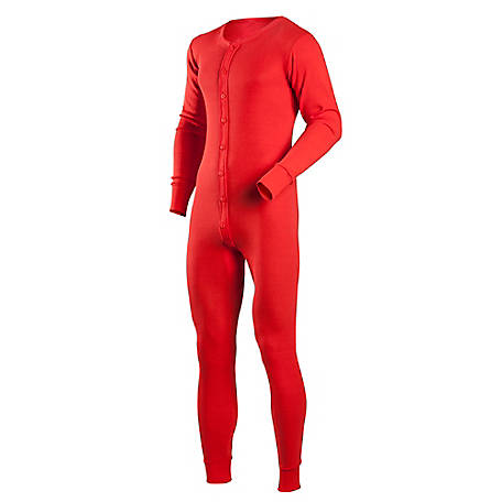 Indera Men's Cotton Rib Knit Union Suit, Regular Fit