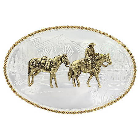 Montana Silversmiths Etched Mountains Western Belt Buckle with Pack Horse and Rider