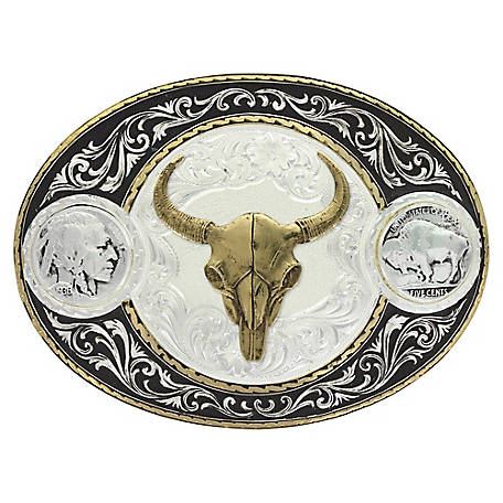 Montana Silversmiths Buffalo Indian Head Nickel Western Belt Buckle with Buffalo Skull