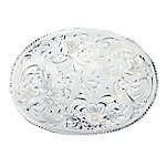 Montana Silversmiths Oval Silver Engraved Western Belt Buckle with Etched Trim