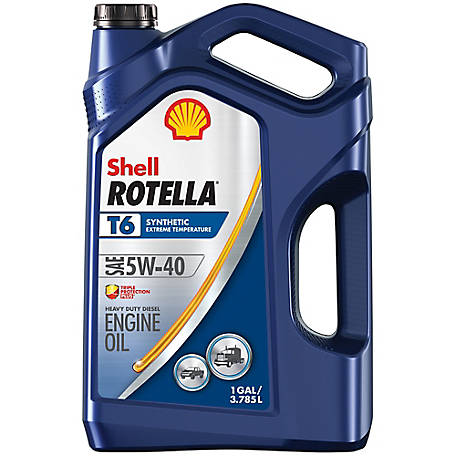 Shell ROTELLA T6 Full Synthetic 5W-40 Heavy-Duty Motor Oil, 1 gal.